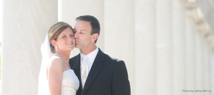 Image of bride and groom at the WKU William Gander Terry Colonnade