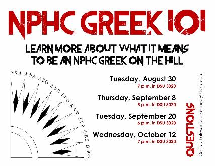NPHC Greek 101 Fall 2016 poster