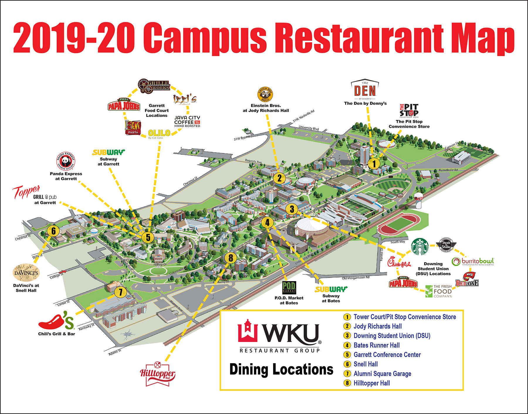 Wku Campus Map Campus Restaurant Map | Western Kentucky University