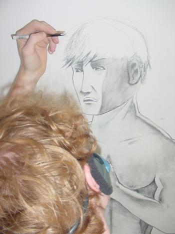 drawing on the wall in the sibling rivalry bedroom