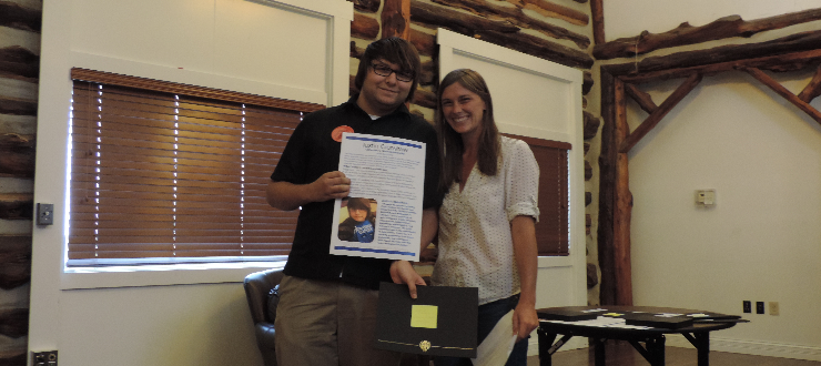 Winner of Catherine C. Ward Scholarship, Justin Crenshaw with Scholarship & Awards Committee Chair, Beth McGrew