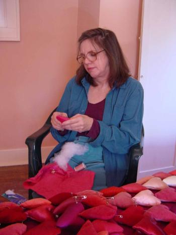 working on quilt for house