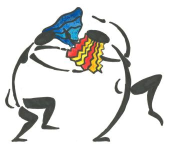 a women's studies logo of two drawn dancers