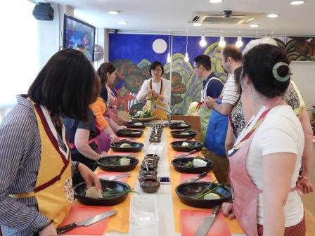 WKU faculty learning to make kimchi in South Korea